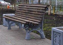 Скамейка бетонная со спинкой 4.7 (Дюбельный крепеж) без сборки